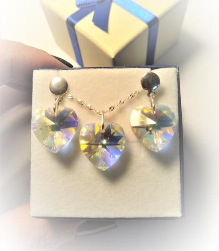 conjunto coração swarovski aurora boreal 1,4cm em prata 925