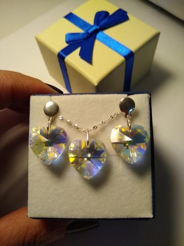 conjunto coração swarovski aurora boreal em prata 925
