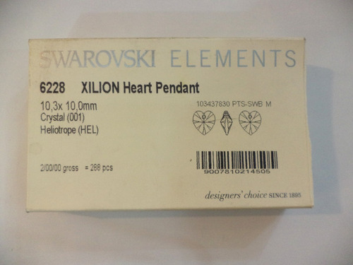 conjunto corazón swarovski elements heliotrope