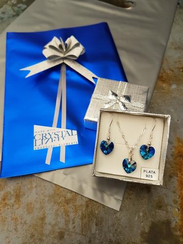 conjunto corazones cristal swarovski azul,plata,envio gratis