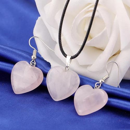 conjunto corazones rosa o amatista cuarzos naturales