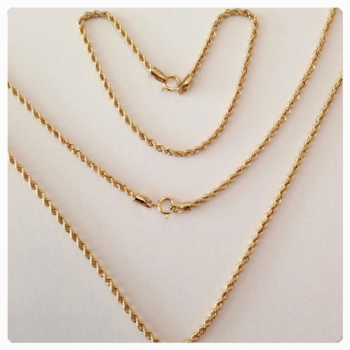 conjunto cordão colar baiano torcido + pulseira ouro 18k 750