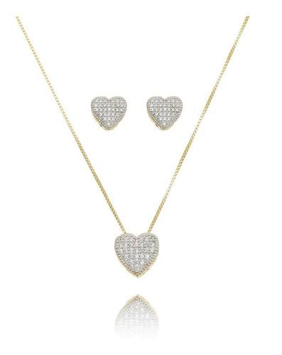 conjunto cordão e brinco coração cravejado semi joia ouro 18