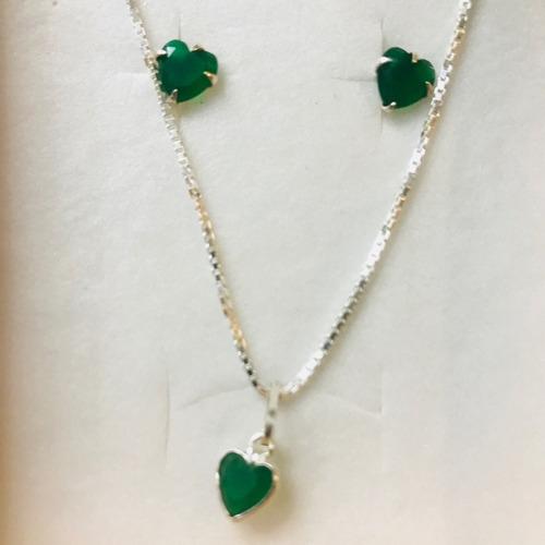 conjunto cordão feminino prata pingente brinco coração verde