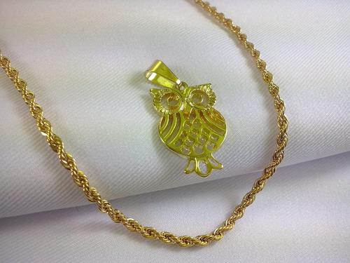 conjunto cordão pingente coruja folheado ouro 45 cm