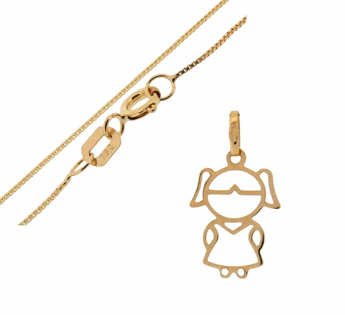conjunto cordão veneziana 50cm + pingente menina - ouro 18k. Carregando  zoom. 8e8020133ce4b