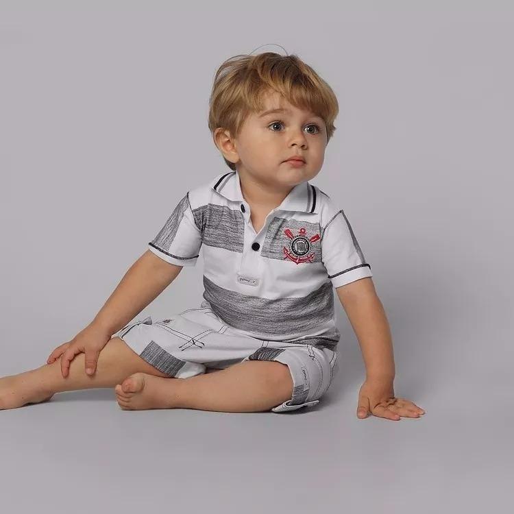 fbb06cf633791 Conjunto Corinthians Infantil Camisa Polo + Bermuda Oficial - R$ 114 ...