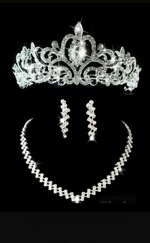 conjunto coroa +colar e brincos para noivas, damas ,festas