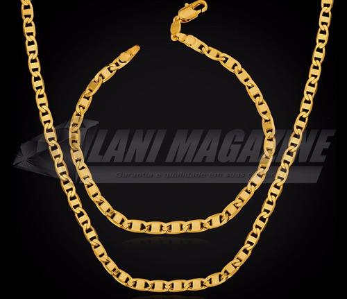 conjunto corrente cordão classico banhada a ouro 18k