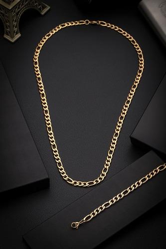 conjunto corrente pulseira aço inox j-131 banhado ouro 18k