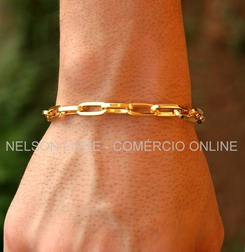 conjunto corrente + pulseira banhadas a ouro - fecho gaveta