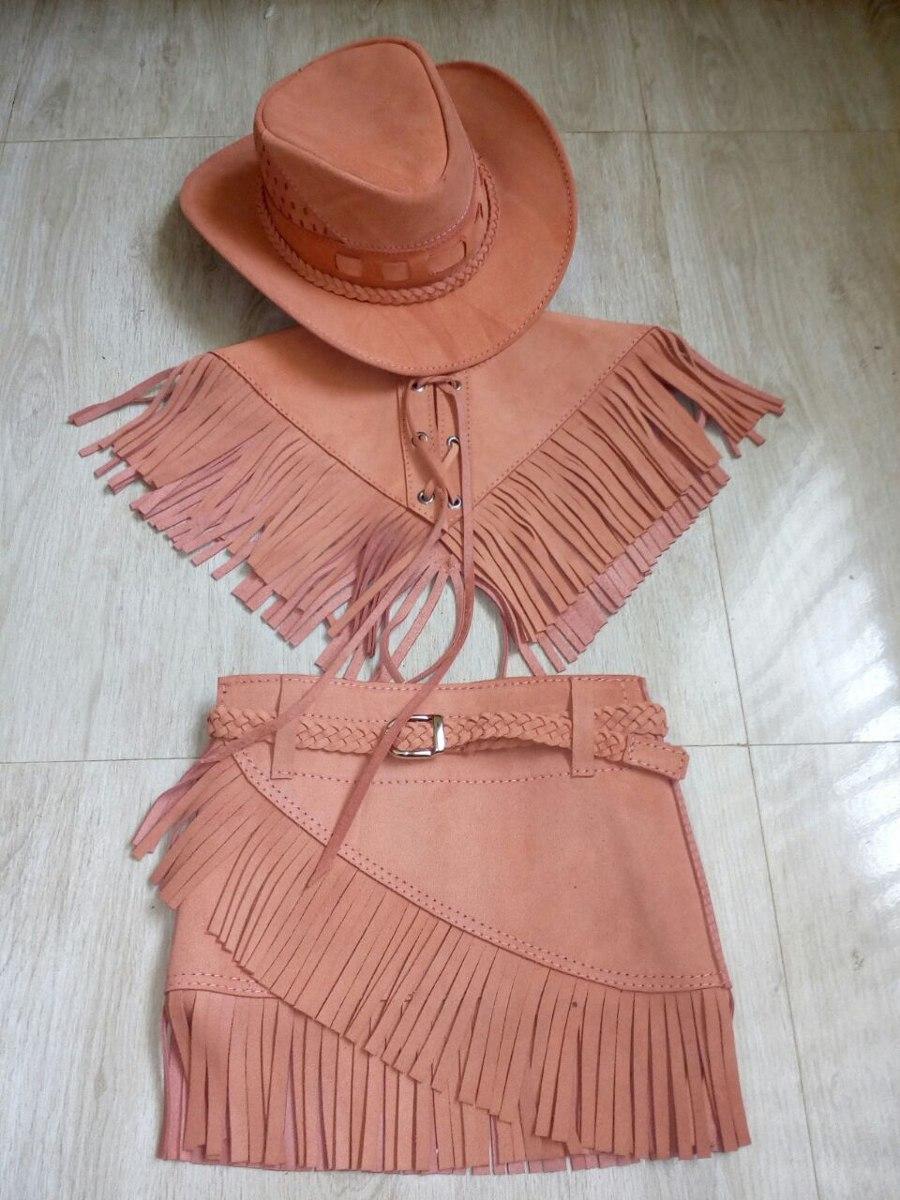 conjunto country infantil chapéu de couro + saia + colete. Carregando zoom. 9fde455e31a