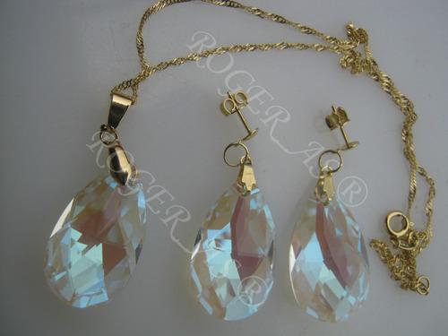 conjunto cristal swarovski 2,8cm blue ab folheado ouro 18k