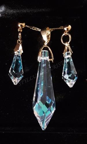 conjunto cristal swarovski gota blue ab folheada a ouro 18k