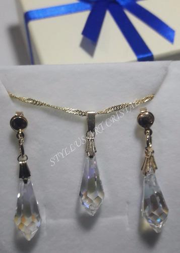 conjunto cristal swarovski gota blue ab folheado 18k