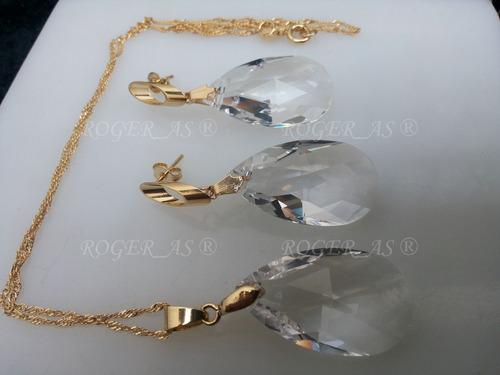 conjunto cristal swarovski gota cristal folheado a ouro 18k