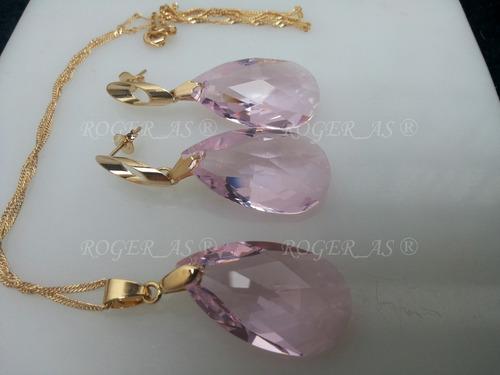 conjunto cristal swarovski gota rosaline folheado a ouro 18k