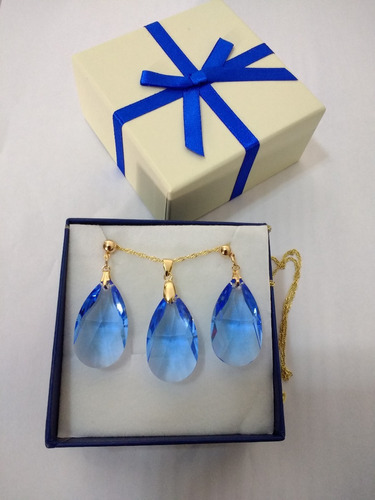 conjunto cristal swarovski gota sapphire folheado a ouro 18k