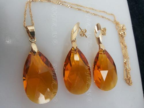conjunto cristal swarovski gota topaz folheado a ouro 18k
