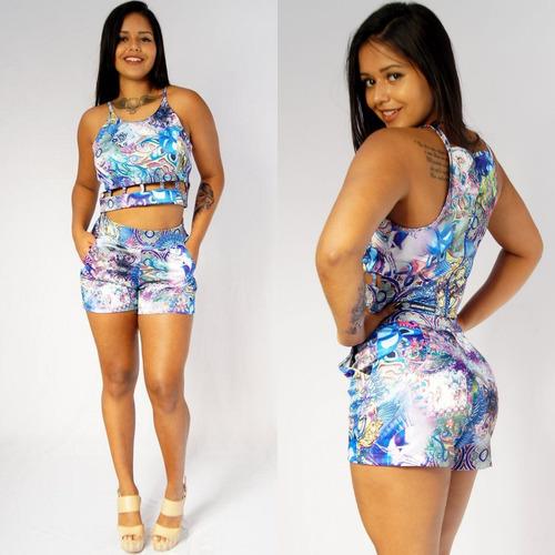 conjunto cropped blusa crop top estampa verão roupa panicat