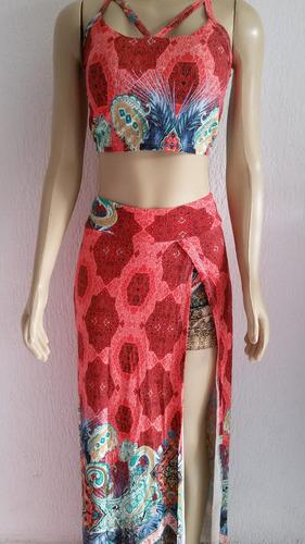 conjunto cropped com bojo + saia + short embutido