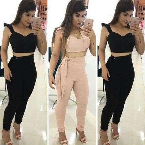 conjunto cropped e calça cintura alta laço lateral feminino