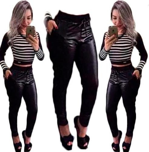 conjunto cropped e calça legging disco hot pants em cirre
