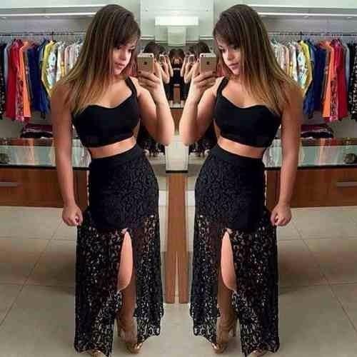 conjunto cropped e saia renda longo festa roupas femininas