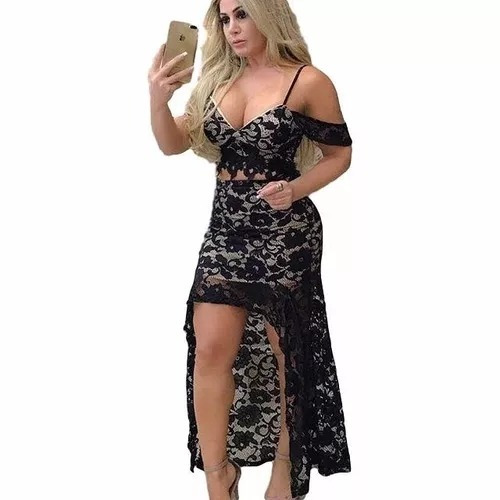 conjunto cropped e saia sereia renda festa roupas femininas