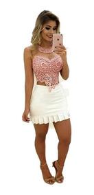 af7069c53 Conjunto Cropped Saia Nathalia Freitas - Vestidos Femeninos Casual ...