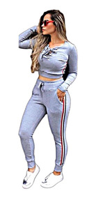 4847f16747884 Roupa Feminina Moletom Cropped E Calça - Calçados, Roupas e Bolsas com o  Melhores Preços no Mercado Livre Brasil