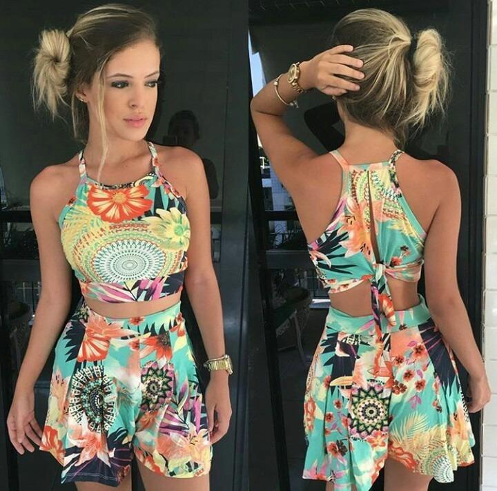 e306fd40a2 Conjunto Cropped Nozinho E Shorts Verão Moda Blogueiras - R$ 39,90 ...