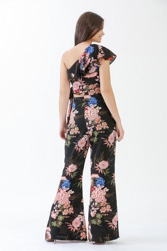 conjunto cropped peplum calça flare cintura alta feminina