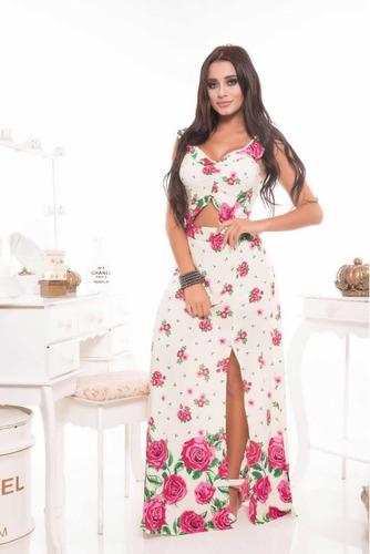 conjunto cropped saia babado cor amarelinha e rosas com bojo