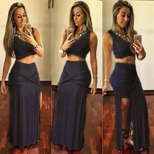 03b0f9d855 Conjunto Cropped Saia Longa Fenda Moda Mulher  Sereia Babado - R  55 ...