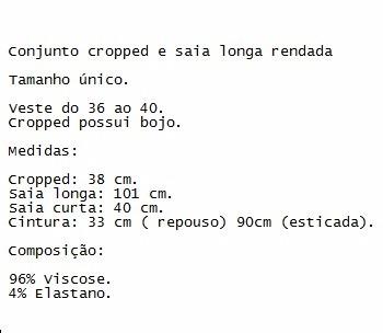 a8bcaa9d91 Conjunto Cropped Saia Longa Rendado Sereia Reveillon 2017 - R  76
