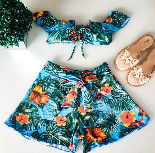 conjunto cropped shorts plissado laço cintura alta floral