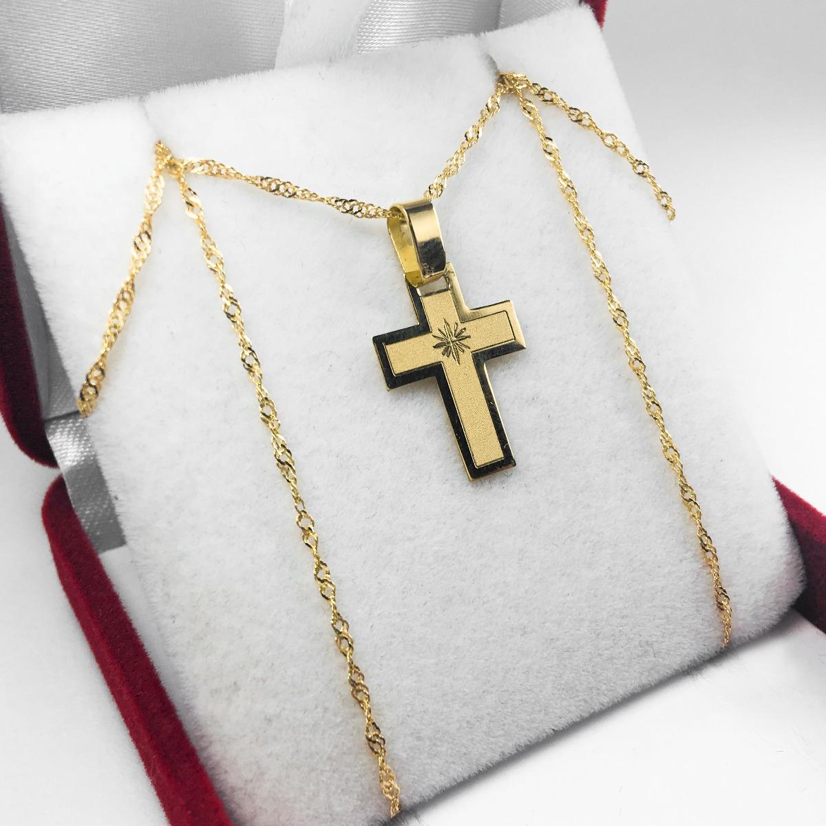 5b69244491ed conjunto cruz y cadena oro 18k chico 45cm mujer niños as. Cargando zoom.