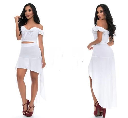 conjunto d blusa corta  falda cola de pato para mujer nuevo