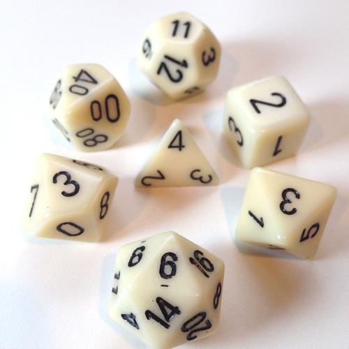 conjunto dados ivory 7 dados  rpg jogos de tabuleiro