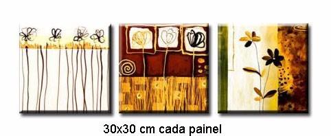 conjunto de 3 quadros pintura tela abstrato flor