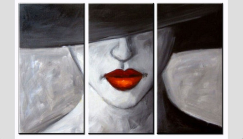 conjunto de 3 quadros pintura tela abstrato mulher vermelho