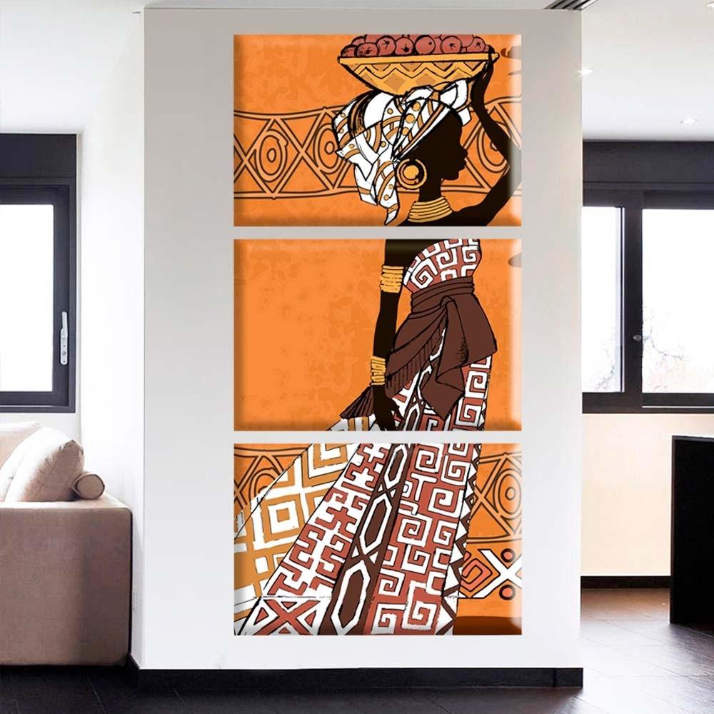 bcec0173c conjunto de 3 telas decorativas africana love decor. Carregando zoom.