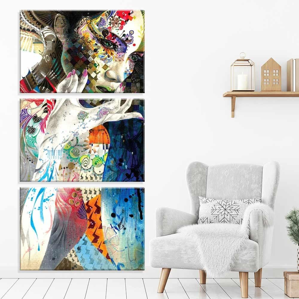 a13c508e3 conjunto de 3 telas decorativas em canvas arte abstrata. Carregando zoom.