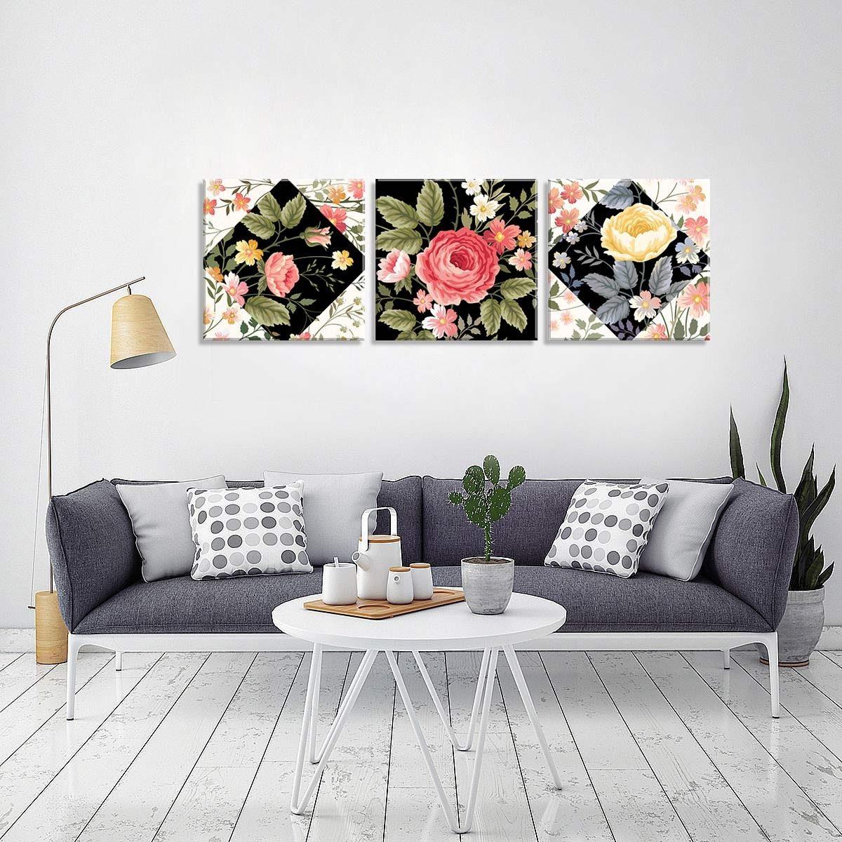 033ea4ee3 conjunto de 3 telas decorativas em canvas flores único. Carregando zoom.