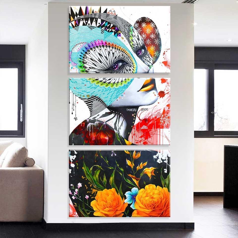 8c1d30256 conjunto de 3 telas decorativas em canvas flowers face. Carregando zoom.