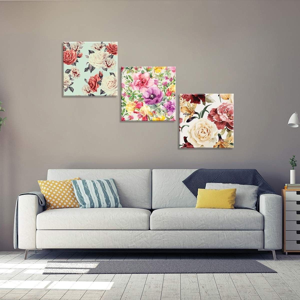 74eeb5bbc conjunto de 3 telas decorativas em canvas traços florais úni. Carregando  zoom.