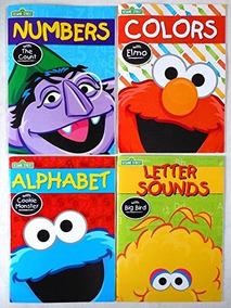 Conjunto De 4 Libros De Trabajo De Sesame Street (alfabeto,