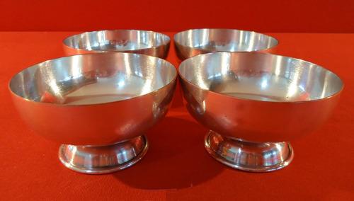 conjunto de 4 taças de sobremesa - prata