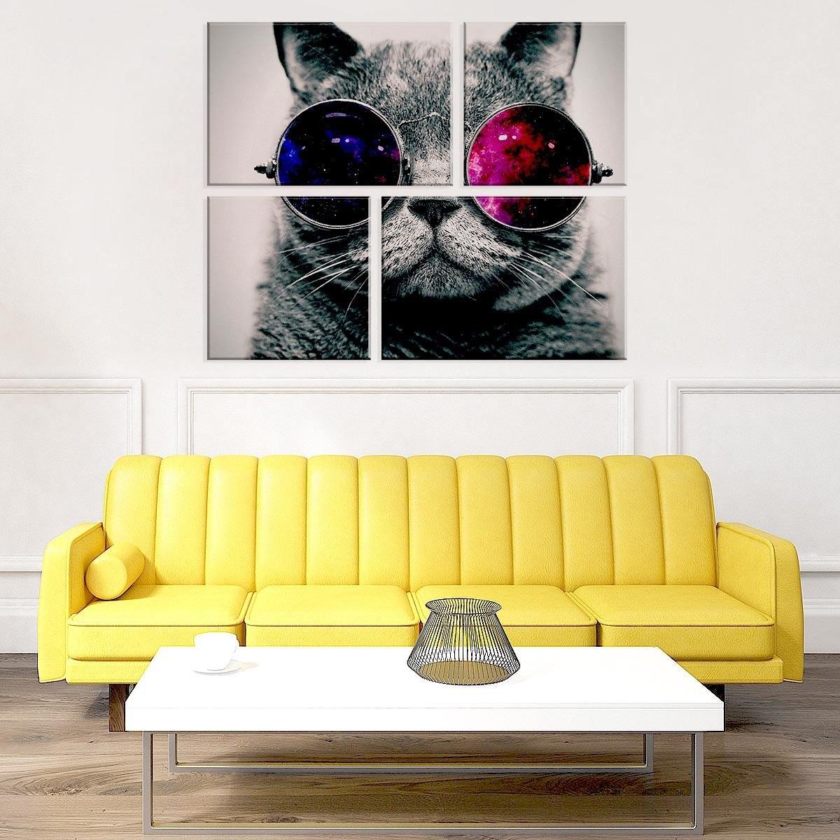 conjunto de 4 telas decorativas em canvas gato de óculos úni. Carregando  zoom. c3f9ab1a9a